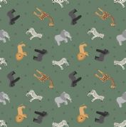 Lewis & Irene - Small Things World Animals - 6884 - African on Dark Green - SM24.3 - Cotton Fabric